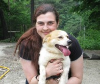 Nougat & his foster mom!