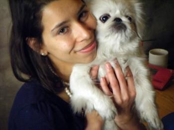 Pekingese dog with foster mom
