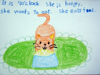 Student drawing of cat eating.